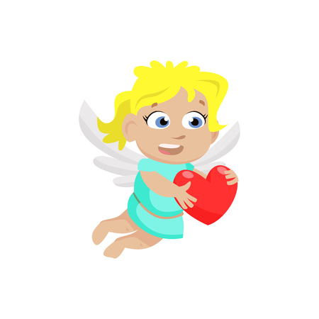 Little angel girl carrying red heart. Cartoon character, wings, cherub. Valentines day concept. Can be used for topics like love, romance, dating Ilustração