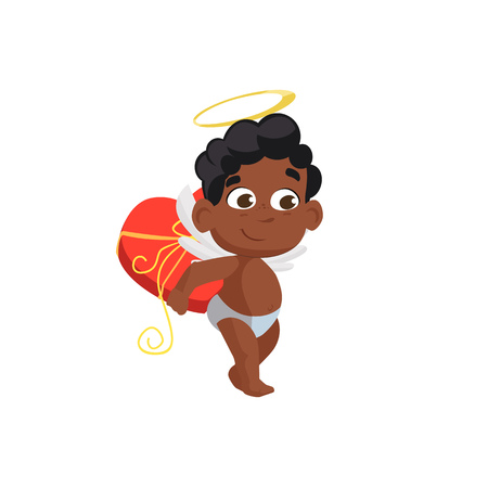 Afro cupid holding heart box illustration. Kid, love, romantic, angel. Saint Valentines Day concept. Vector illustration can be used for topics like romantic, love, celebration, greeting card