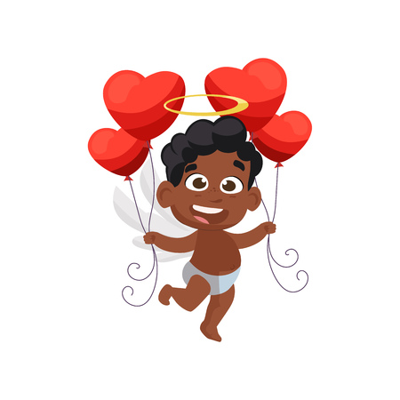 Afro cupid holding red air balloons illustration. Kid, love, romantic, angel. Saint Valentines Day concept. Vector illustration can be used for topics like romantic, love, celebration, greeting card