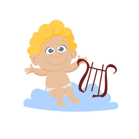 Cheerful little cherub playing harp on cloud. Cute character, toddler, cupid. Valentines day concept. Can be used for topics like love, romance, dating