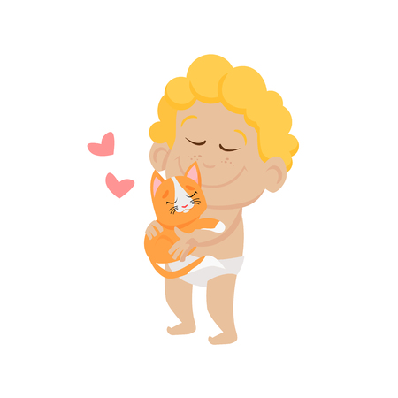 Cute baby cupid hugging red kitten. Tenderness, cat, heart. Valentines day concept. Can be used for topics like love, romance, dating