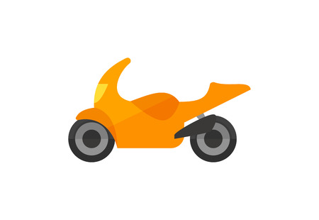 Orange scooter illustration. Moped, road, speed. Transport concept. Vector illustration can be used for topics like road, travelling, city Çizim