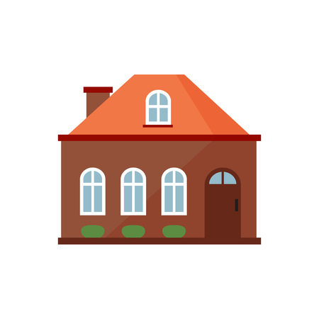 Brown cottage with orange roof illustration. Home, design, architecture. Building concept. Vector illustration can be used for topics like real estate, advertisement, house Illustration