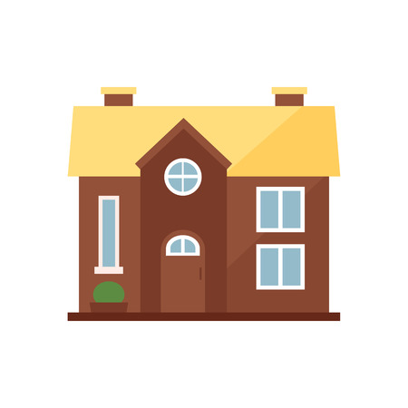 Brown cottage with yellow roof illustration. Home, design, architecture. Building concept. Vector illustration can be used for topics like real estate, advertisement, house