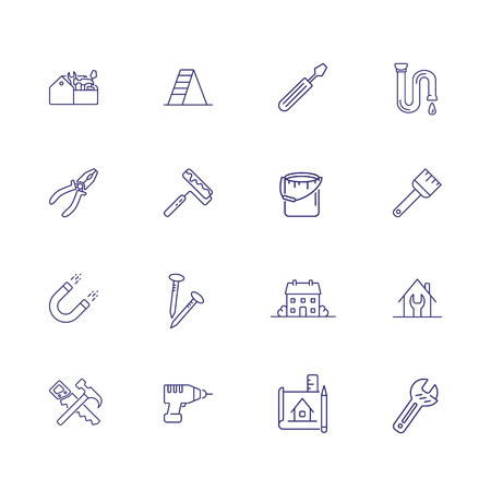 Home renovation line icon set. Tool box, painting roller, house. Construction concept. Can be used for topics like decorating, housekeeping, repair
