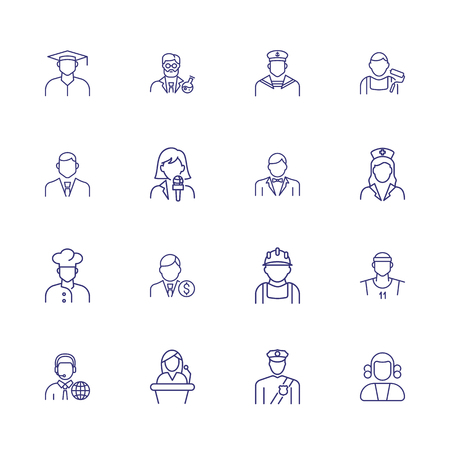 Professionals line icon set. Cook, financier, sailor, chemist. People concept. Can be used for topics like job, occupation, labor