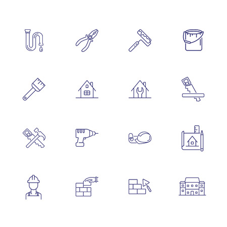 Home repair line icon set. Saw, hammer, brickwork, blueprint. Construction concept. Can be used for topics like housing housekeeping, renovation