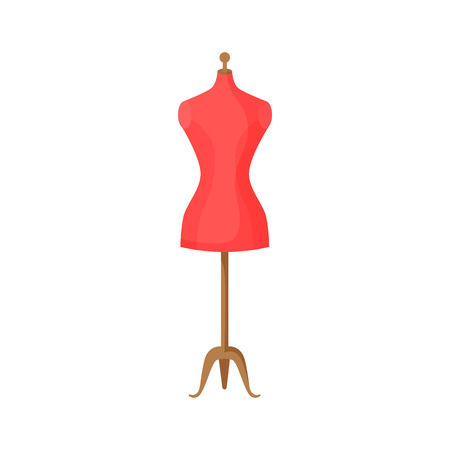 Tailors dummy illustration. Red, mannequin, simulator. Needlework concept. Vector illustration can be used for topics like household, workshop  イラスト・ベクター素材