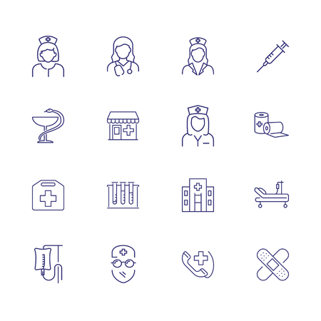 Treatment line icon set. Doctor, physician, surgeon, hospital. Medicine concept. Can be used for topics like medical help, diagnosis, screening Illusztráció