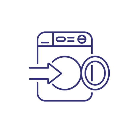 Loading laundry line icon. Washing machine, open, arrow. Laundry concept. Can be used for topics like laundromat, guide, instruction