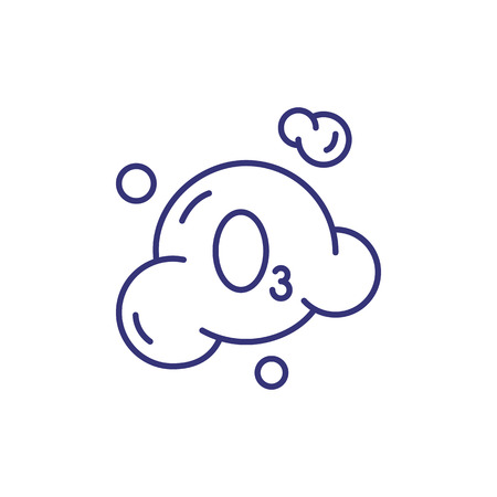 Ozonation line icon. Bubble, ozon, formula. Laundry concept. Can be used for topics like chemistry, molecule, washing