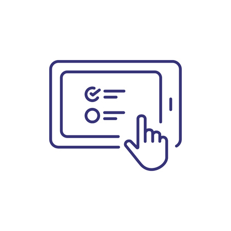 Tablet line icon. Screen, information, cursor. Online education concept. Vector illustration can be used for topics like world education system, technology, solution