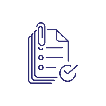 Attach documents line icon. Mailing, papers, technology. Online education concept. Vector illustration can be used for topics like internet, mailing, technology 版權商用圖片 - 115137491