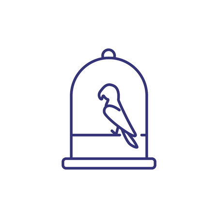 Parrot in cage line icon. Domestic bird, captivity, exotic bird. Veterinary concept. Vector illustration can be used for topics like pets, animals, pet shop Ilustração