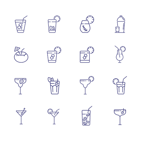Cold beverages line icon set. Cuba Libre, lemonade, ice tea. Drink concept. Can be used for topics like bar, cocktail menu, party