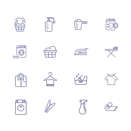 Laundry line icon set. Detergent, drying, clothes pin. Household concept. Can be used for topics like garment care, hand wash, ironing