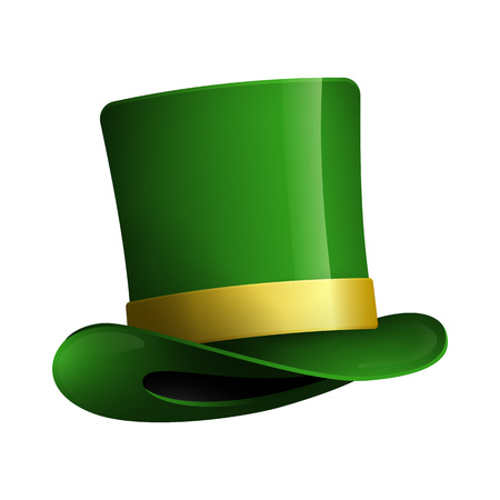 Cylinder hat with strap. Green headwear of Leprechaun. Can be used for topics like Saint Patrick day, Ireland, holiday Иллюстрация