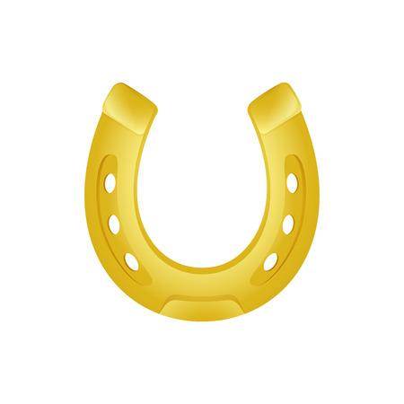 Lucky golden horseshoe. Irish fortune symbol. Can be used for topics like Saint Patrick day, farm, decoration Векторная Иллюстрация
