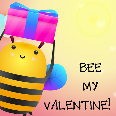 Bee my Valentine romantic poster design. Cute bee holding gift on yellow background. Illustration can be used for banners, invitation, greeting cards