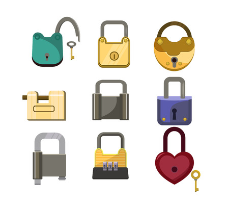 Lock icons set. Heart lock, metal lock, code lock. House protection concept. Vector illustration can be used for topics like protection system, door, baggage