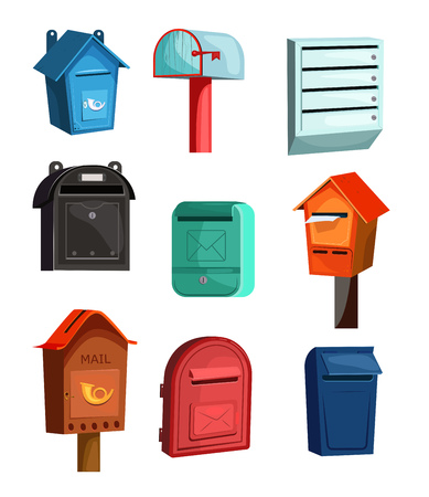 Mail boxes icons set. Flat icons on white background. Wood, red, blue and green mail boxes. Post service concept. Vector illustration can be used for topics like household, post service, mailing 向量圖像