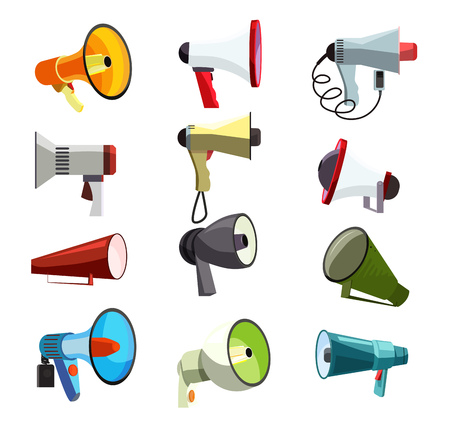 Megaphones icons set. Green, blue and red mouthpieces. Demonstration concept. Vector illustration can be used for topics like meeting, demonstrations, loud speaking