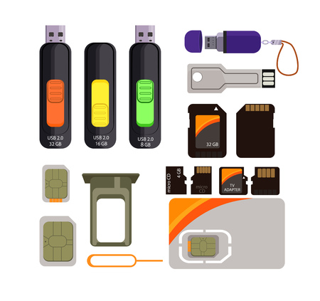Memory cards icons set. Simple icons on white background.