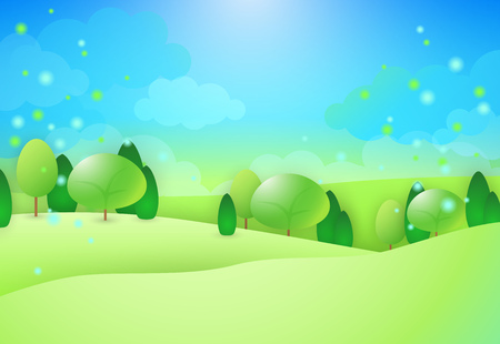 Green hills with trees. Pollen flying above field. Can be used for topics like summer, nature, non-urban scene