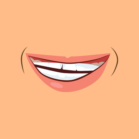 Male  smile illustration. Mouth, lips, face. Emotion concept. Vector illustration can be used for psychology, chatting, emoticons