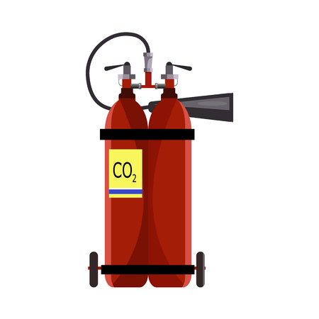 Fire extinguisher illustration. Red, equipment, fire protection. Fire safety concept. Vector illustration can be used for topics like engineer system, safety Illustration