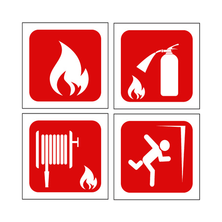 Fire prevention signs illustration. Red, equipment, fire protection. Fire safety concept. Vector illustration can be used for topics like engineer system, safety Vectores