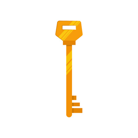 Golden vintage key illustration. Mechanism, protection, safety. Houseware concept. Vector illustration can be used for topics like home, security