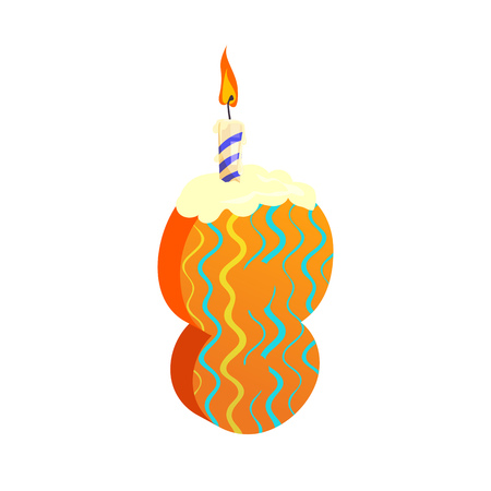 Number eight candle illustration.Multicolored,  cake candle, festival. Birthday concept. Vector illustration can be used for topics like special day, celebration, festive cake