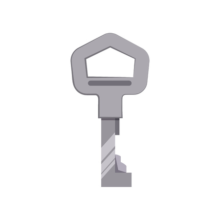 Silver key vector illustration. Car key, lock, home. Access concept. Vector illustration can be used for topics like security, safety, privacy Çizim