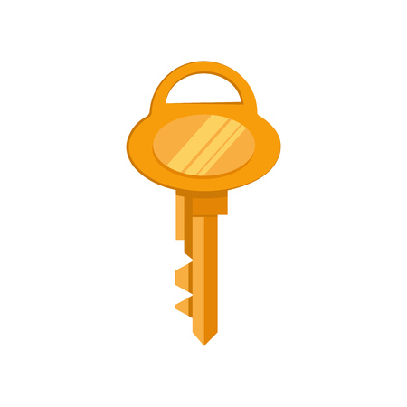 Golden safe key vector illustration. Car, home, lock. Access concept. Vector illustration can be used for topics like security, business, ownership
