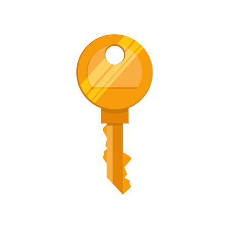 Golden key illustration. Mechanism, protection, safety. Houseware concept. Vector illustration can be used for topics like home, security