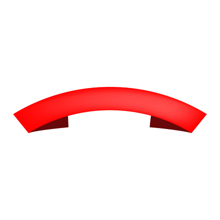 Red blank arched scroll on white background. Emblem, tape, frame. Advertising concept. Vector illustration can be used for banners, leaflets, posters