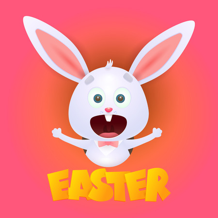 Verrückter aufgeregter Osterhase. Frohes Kaninchen, das frohe Ostern feiert. Kann für Themen wie Grußkarten, Zeichentrickfiguren, Urlaub verwendet werden