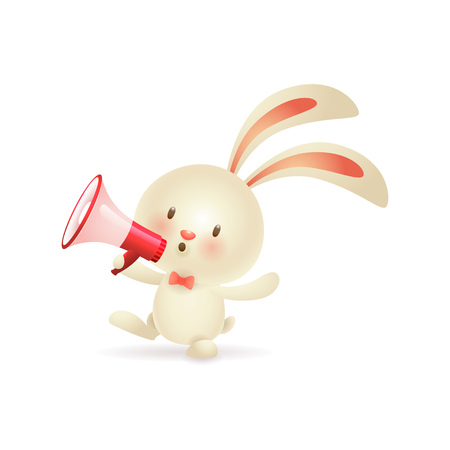 Cute Easter bunny shouting in loudspeaker. Small rabbit announcing holiday in megaphone. Can be used for topics like animal, celebration, festival