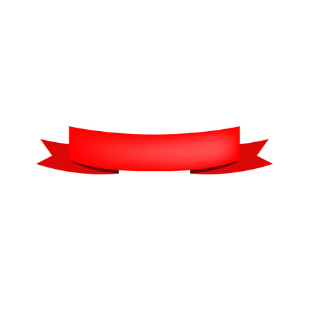 One folded band illustration. Grand opening, red band, shopping. Decoration concept. Vector illustration can be used for topics like celebration, decorative elements