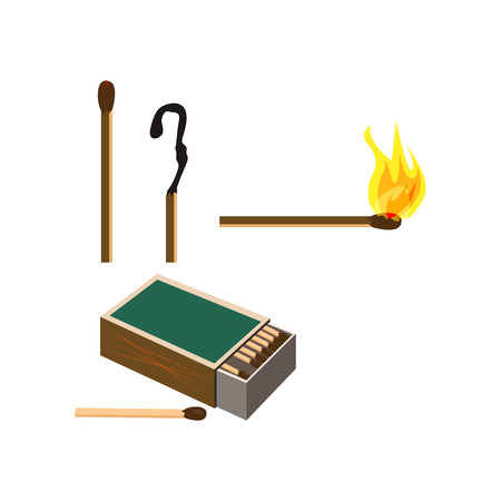 Matches box illustration. Smoking, fire, burning. Smoking concept. Vector illustration can be used for topics like bad habits, smoker