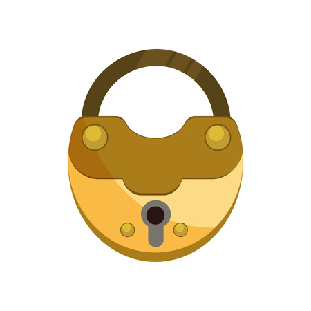 Retro golden lock illustration. Key, mechanism, secret. Protection concept. Vector illustration can be used for topics like safety, security, private space