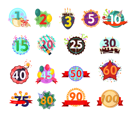 Anniversary signs set illustration. Bright festival ribbons with jubilee numbers. Can be used for topics like birthday, celebration, festival Illustration