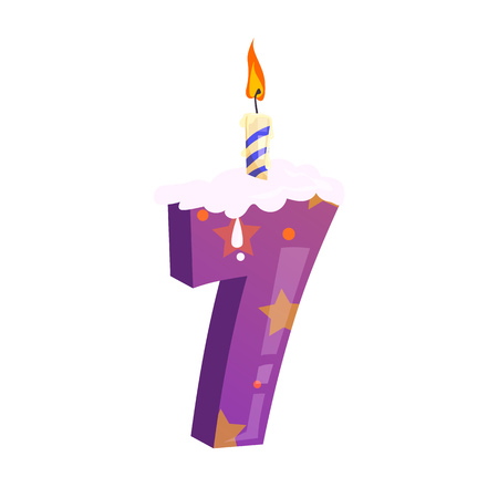 Number seven candle illustration. Violet, cake candle, festival. Birthday concept. Vector illustration can be used for topics like special day, celebration, festive cake Ilustração
