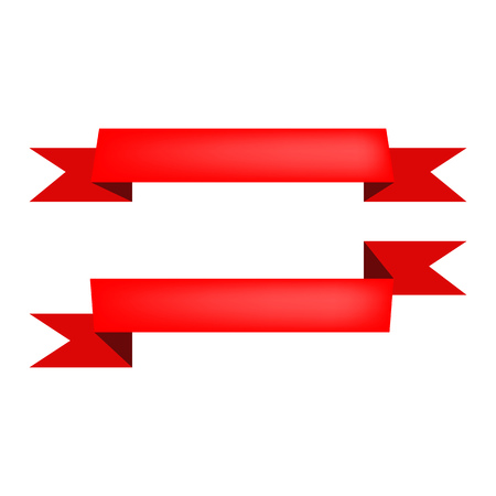 Two ribbons illustration. Grand opening, red band, shopping. Decoration concept. Vector illustration can be used for topics like celebration, decorative elements