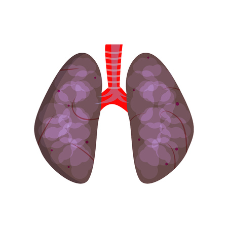 Unhealthy lungs illustration. Black lungs, breathing, harmful habit. Smoking concept. Vector illustration can be used for topics like unhealthy habits, smoker, healthcare Illustration