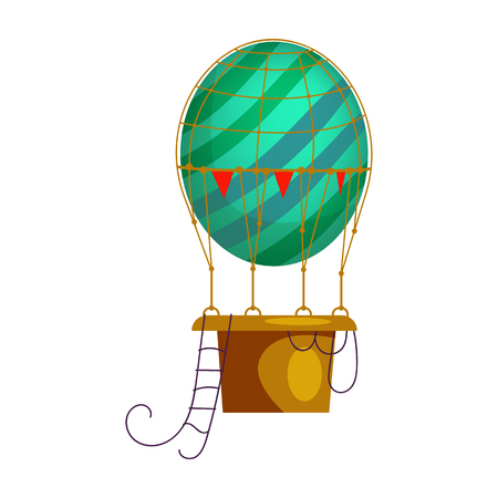 Blue striped hot air balloon isolated vector. Retro airship, adventure, voyage. Aerostat concept. Vector can be used for topics like transportation, aviation, travel  イラスト・ベクター素材