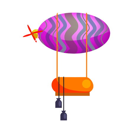 Hot air balloon with motor isolated vector. Dirigible, airship, adventure. Aerostat concept. Vector can be used for topics like transportation, aviation, travel