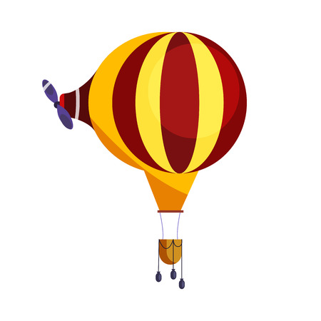 Hot air balloon with propeller isolated vector. Festival, aircraft, adventure. Aerostat concept. Vector can be used for topics like transportation, aviation, travel  イラスト・ベクター素材
