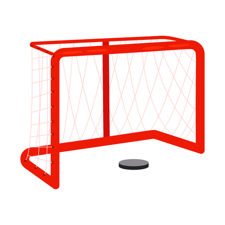 Ice hockey goal and puck vector. Goal, competition, match. Ice hockey concept. Vector illustration can be used for topics like sport, hobby, winter activity